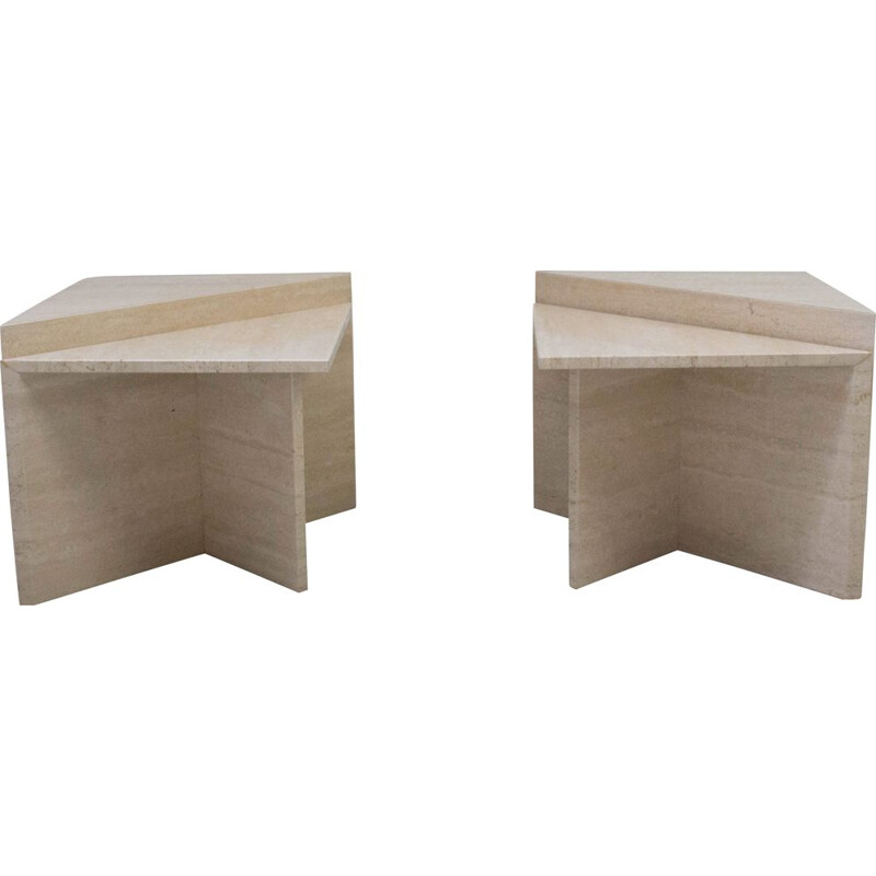 Suite of vintage modular coffee tables in travertine