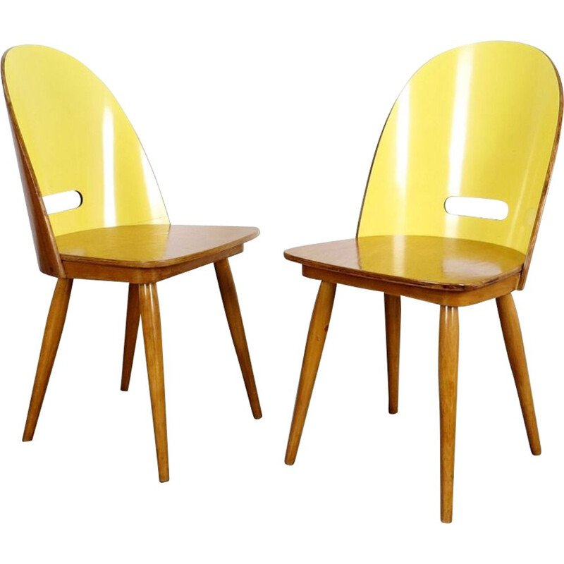 Set of 2 dining chairs in yellow fabric 1960