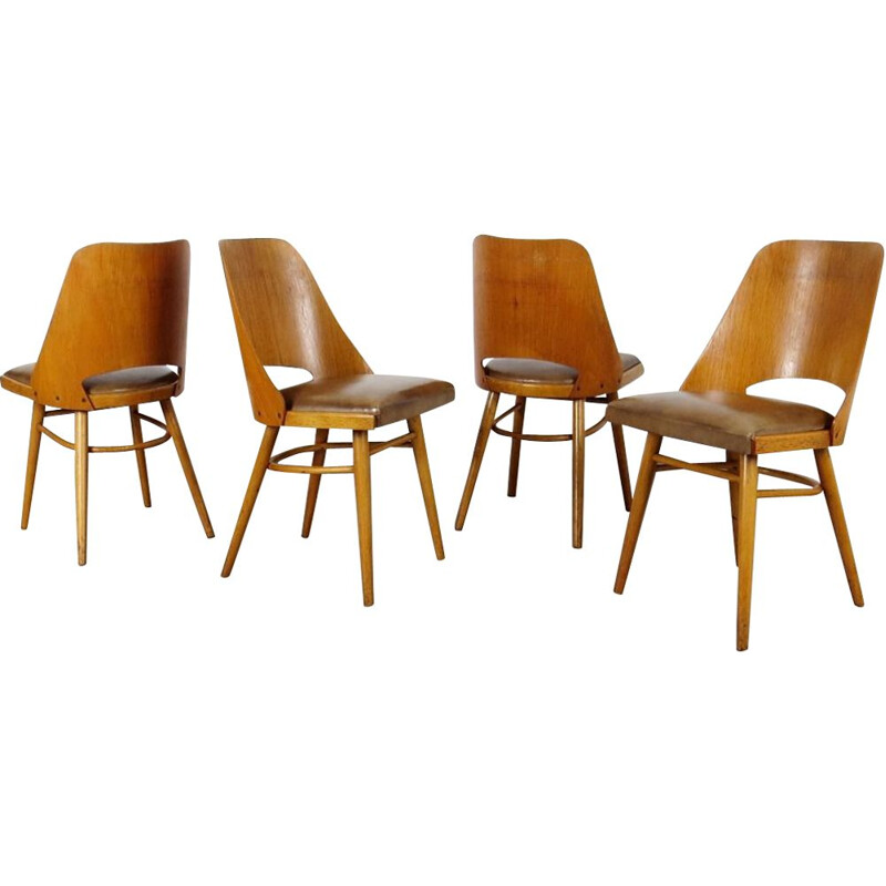 Set of 4 vintage Dining chairs by TON 1960s