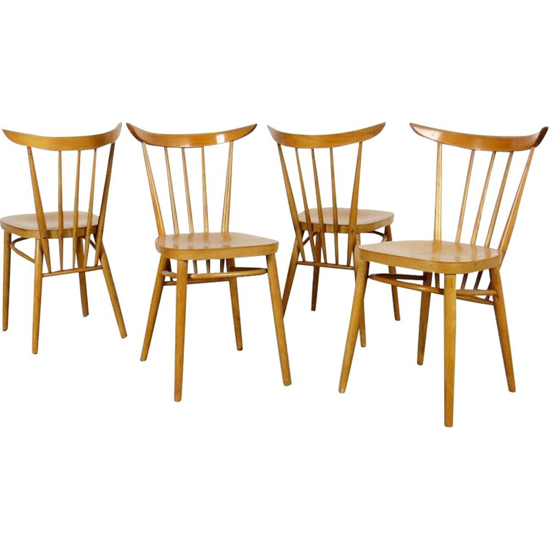 4 vintage dining chairs by Frantisek Jirak 1960s