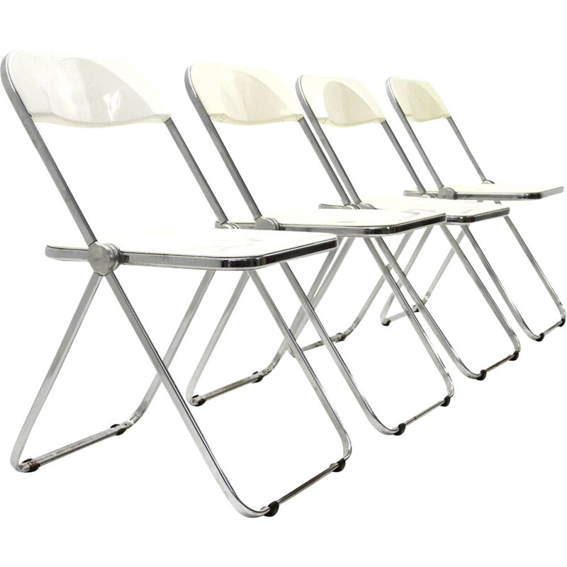 "Set of 4 vintage foldables chairs ""Plia"" by Giancarlo Piretti  1950s"