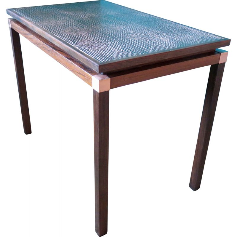Rosewood and copper side table, Denmark 1965