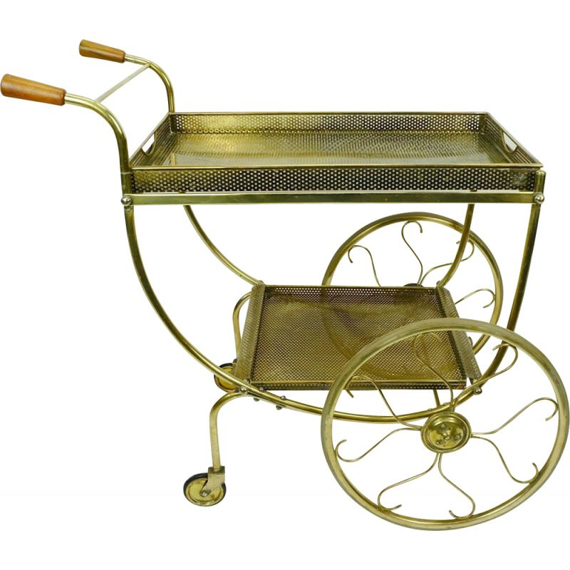 Vintage brass trolley tea cart by Svenskt Tenn from Josef Frank, 1950s