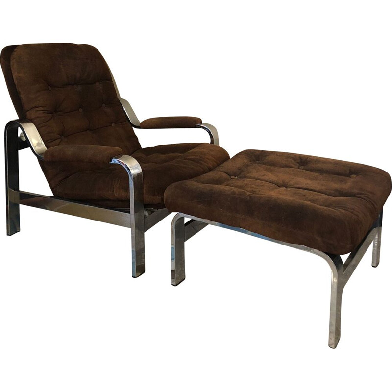 Armchair and Ottoman vintage set in chocolate suede, 1970s