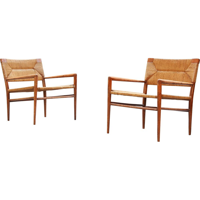 Set of 2 vintage rattan and wooden armchairs, Denmark, 1960s