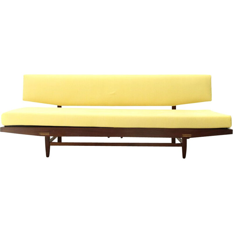 Vintage yellow fabric and wood sofa bed, Italy, 1960s