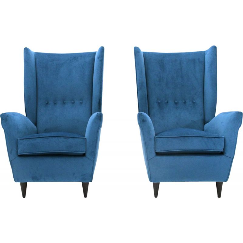 Set of 2 vintage blue velvet armchairs, Italy, 1950s
