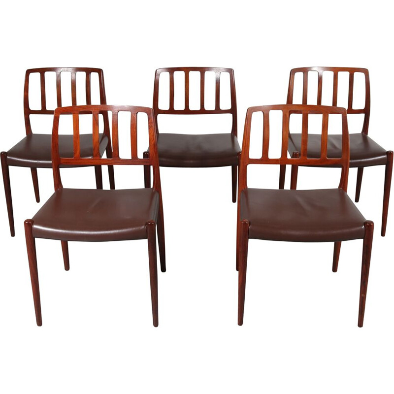 "Set of 5 ""Model 83"" vintage dining chairs by Niels Otto Møller, Denmark, 1960s"