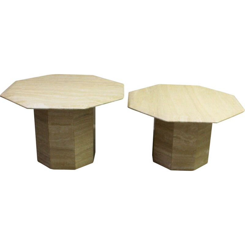 Set of 2 vintage side coffee tables in travertine