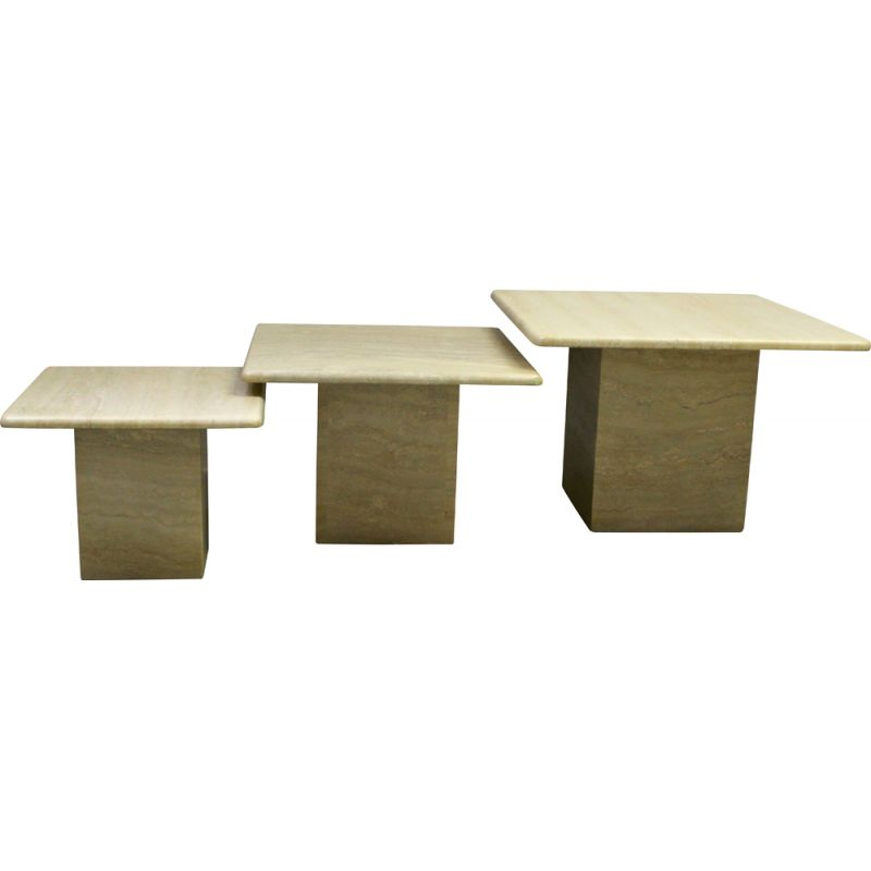 Set of 3 vintage side coffee tables in travertine