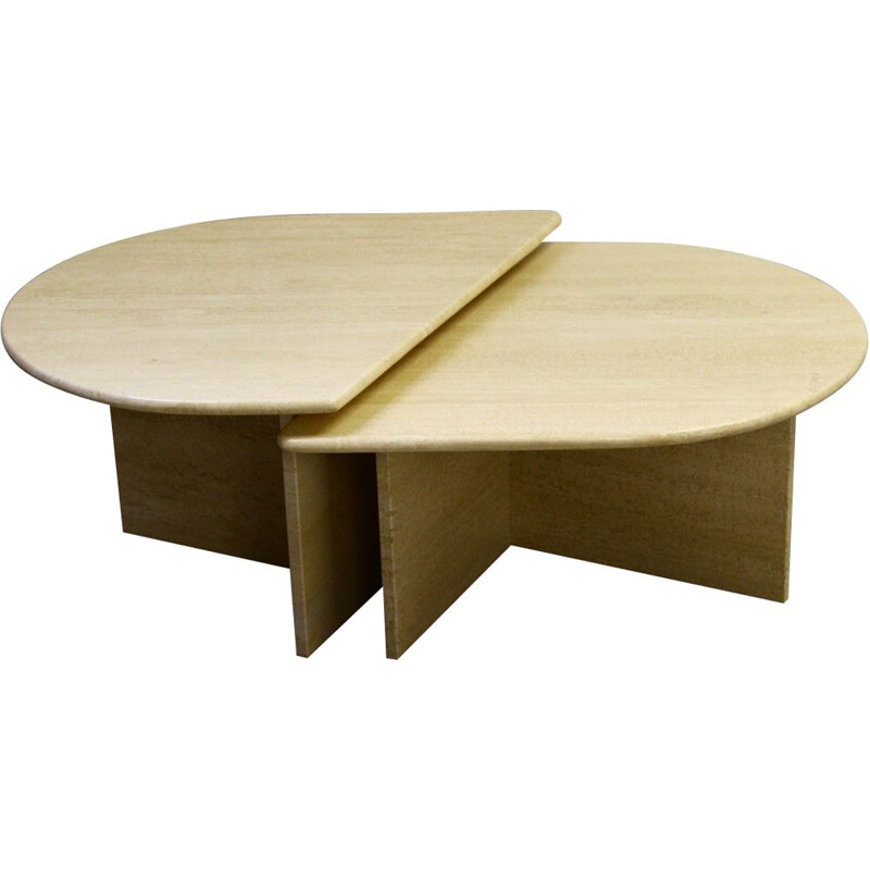 Pair of vintage modular coffee tables in travertine