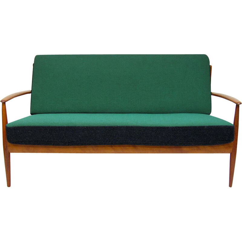 Vintage sofa in teak and kvadrat fabric by Grete Jalk, 1950s