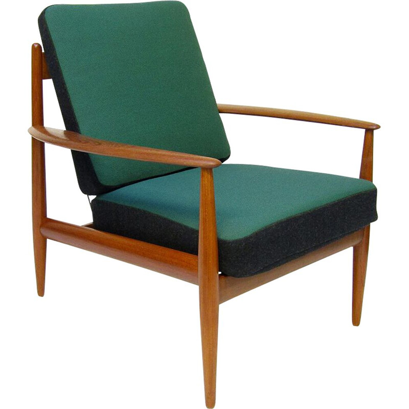 Vintage lounge chair in teak & kvadrat fabric by Grete Jalk, 1950s