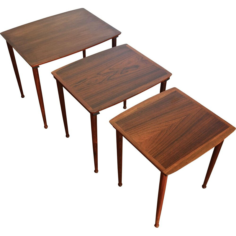Vintage nesting tables by Mobelintarsia in rosewood, 1960