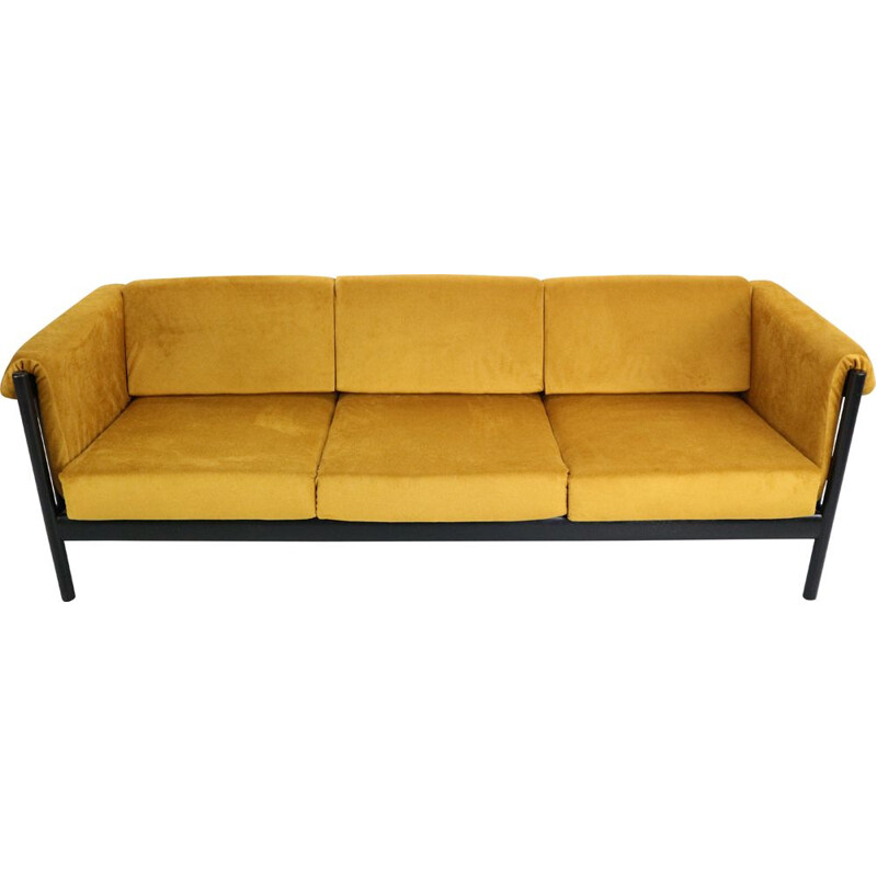 Vintage sofa in yellow velvet by Johannes Andersen, Denmark, 1960s
