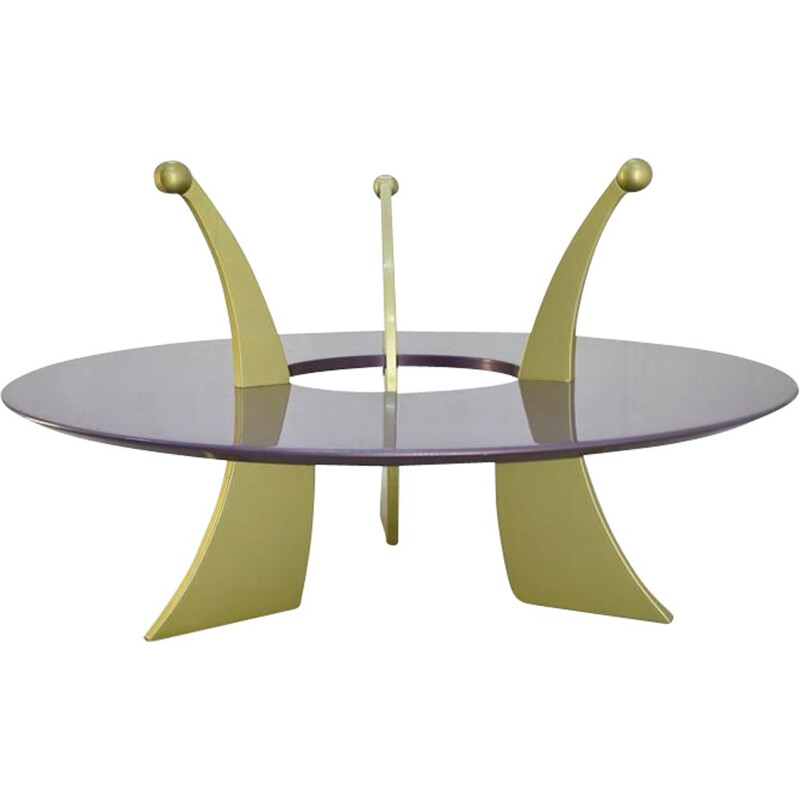 Vintage orchid coffee table by Massimo Morozzi for Archizoom Italy, 1980s,