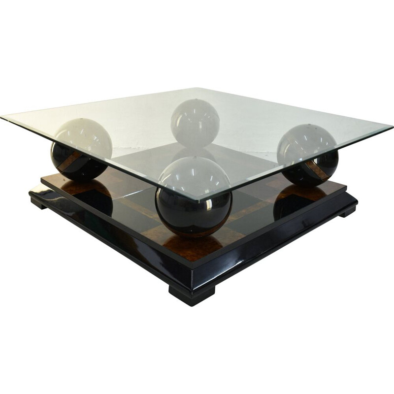 Vintage Italian coffee table in lacquered wood and glass top, 1970s