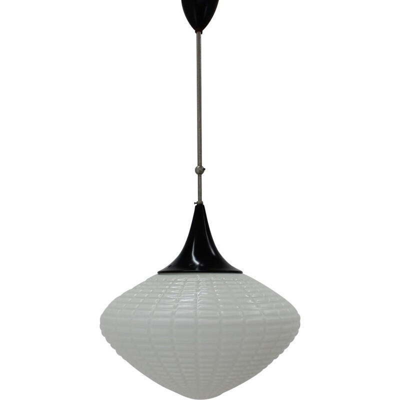 Vintage milk glass and metal pendant light, 1960s