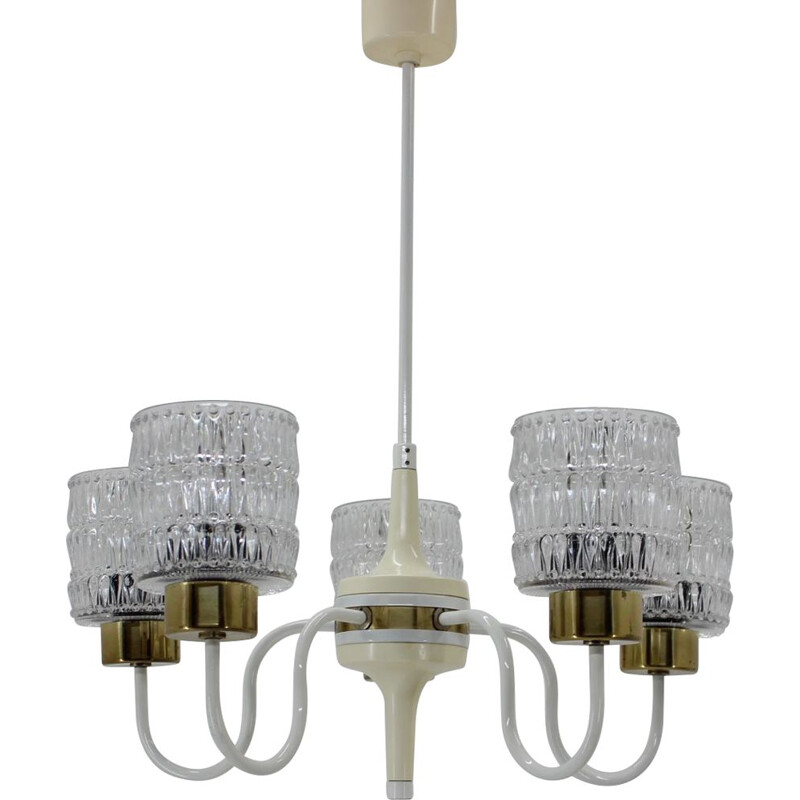 Vintage brass, metal and glass chandelier by Kamenický Šenov, 1970s