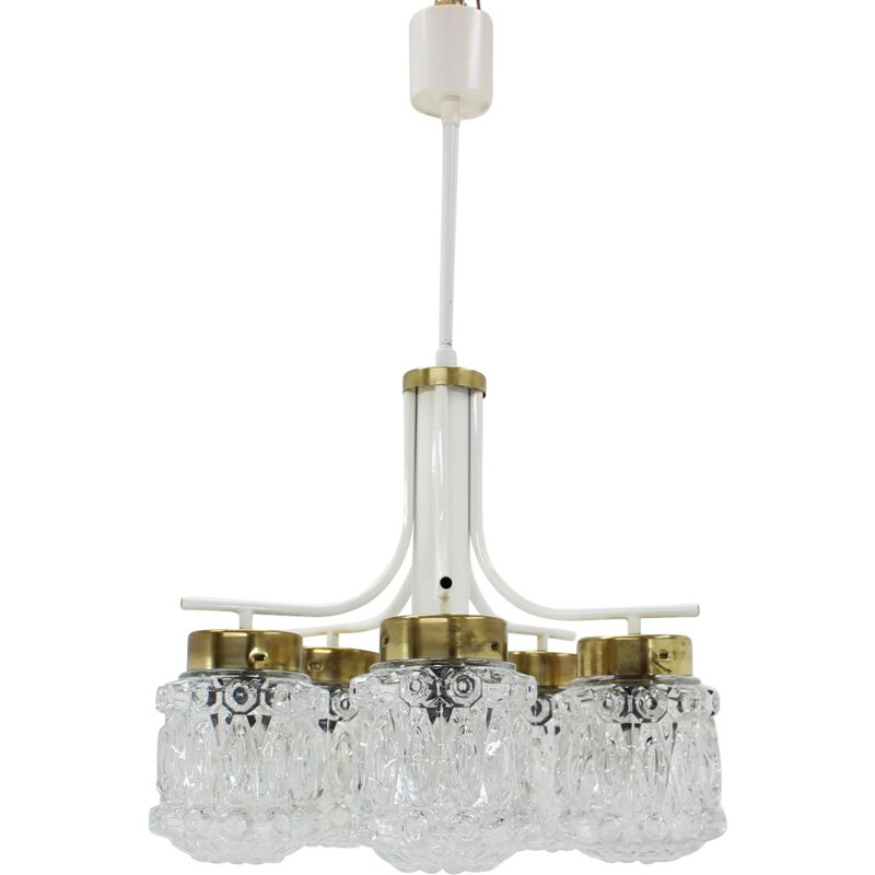 Vintage glass and brass chandelier by Kamenický Šenov, 1970s