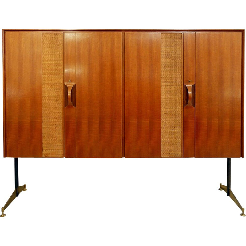 Vintage wooden highboard, Italy, 1960s