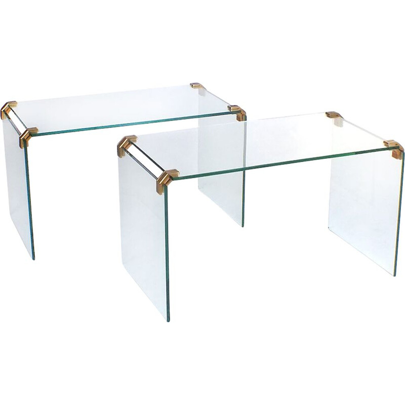 Set of 2 vintage glass and brass tables