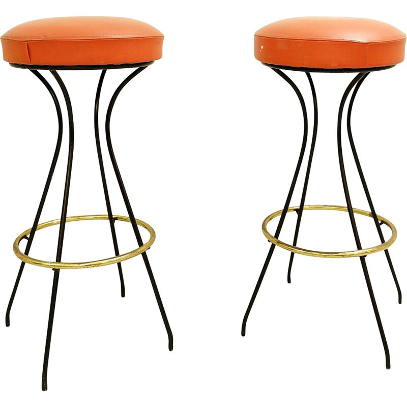 Set of 2 vintage orange high chairs, Italy, 1970s