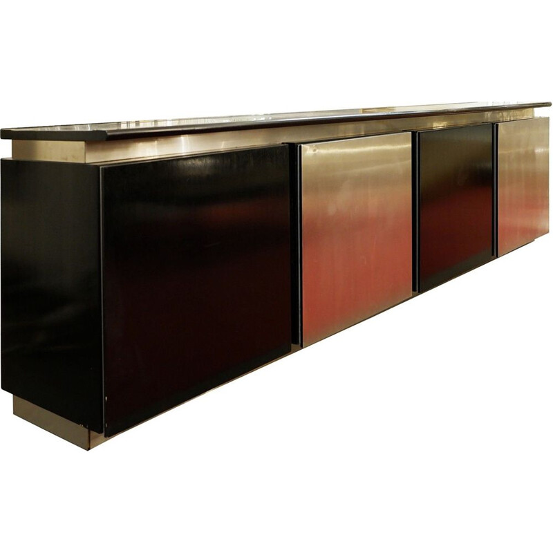 Vintage sideboard in tinted oak and aluminium by Ludovico Acerbis, 1960s