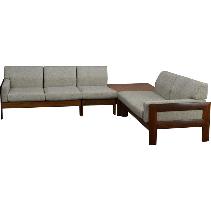 Vintage lounge set in teak and fabric, 1960s