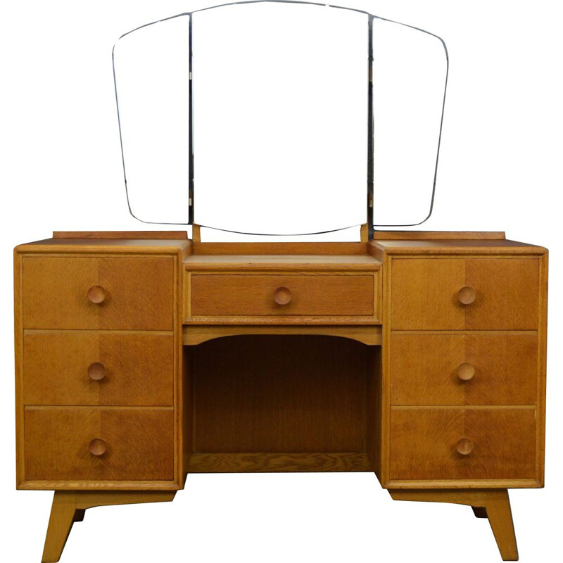 Vintage oak dressing table with mirror by Meredew, 1960s