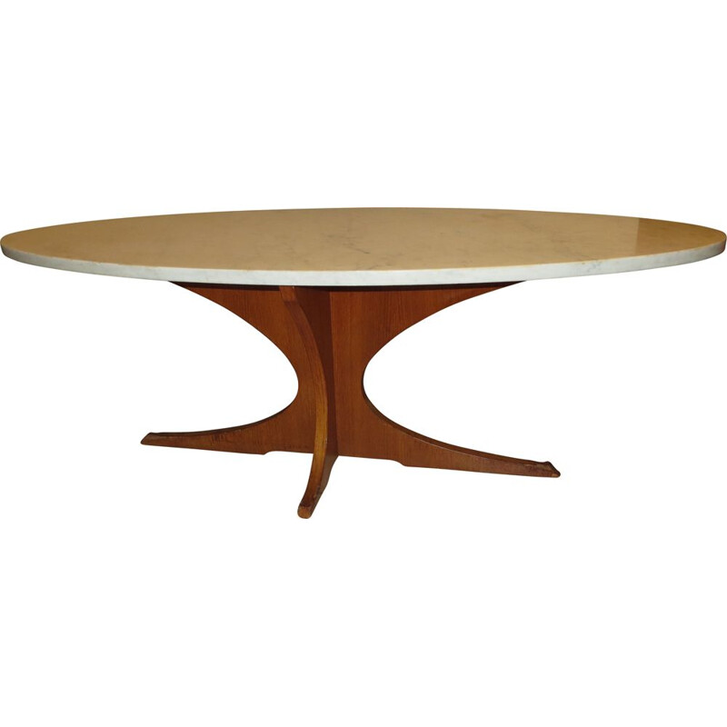 Vintage teak and white marble coffee table, 1960s