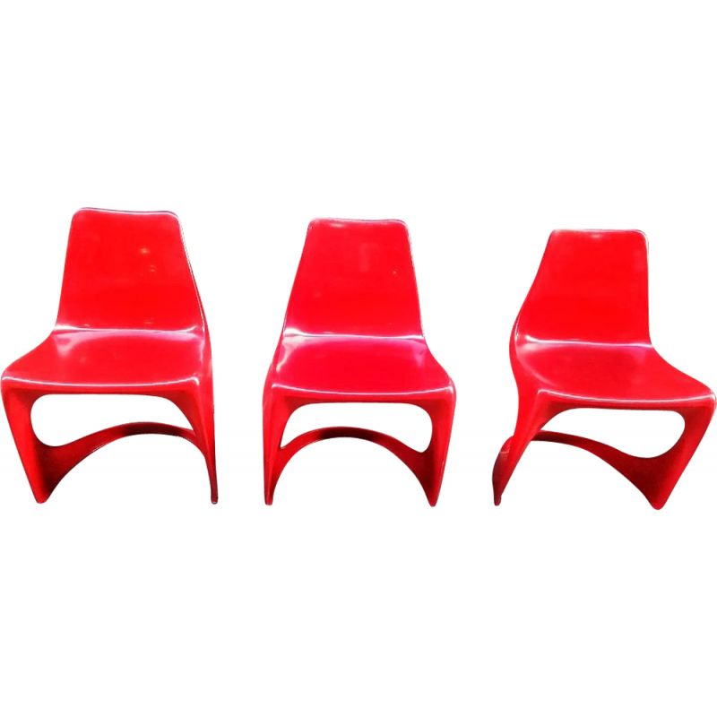 Set of 3 vintage Cantilever 290 plastic chairs by Steen Ostergaard