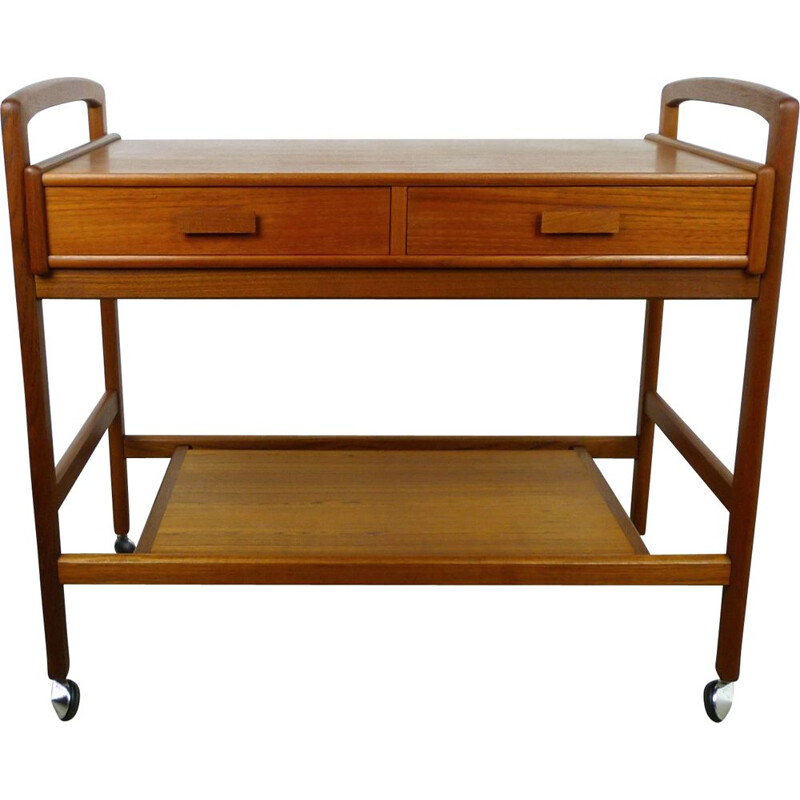 Vintage teak serving trolley with drawers, Denmark, 1960s
