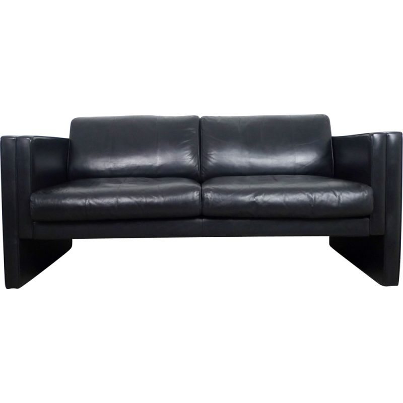 Vintage Black Leather Sofa by Jürgen Lange for Walter Knoll, Germany, 1980s