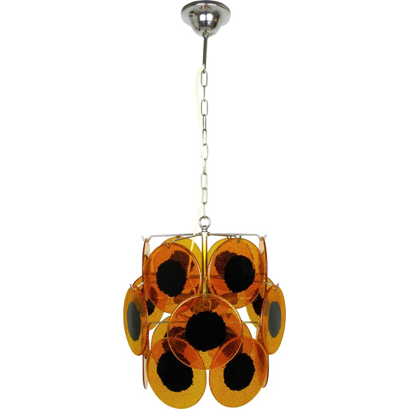 Vintage Amber Colored hanging Lamp, Italy, 1970s