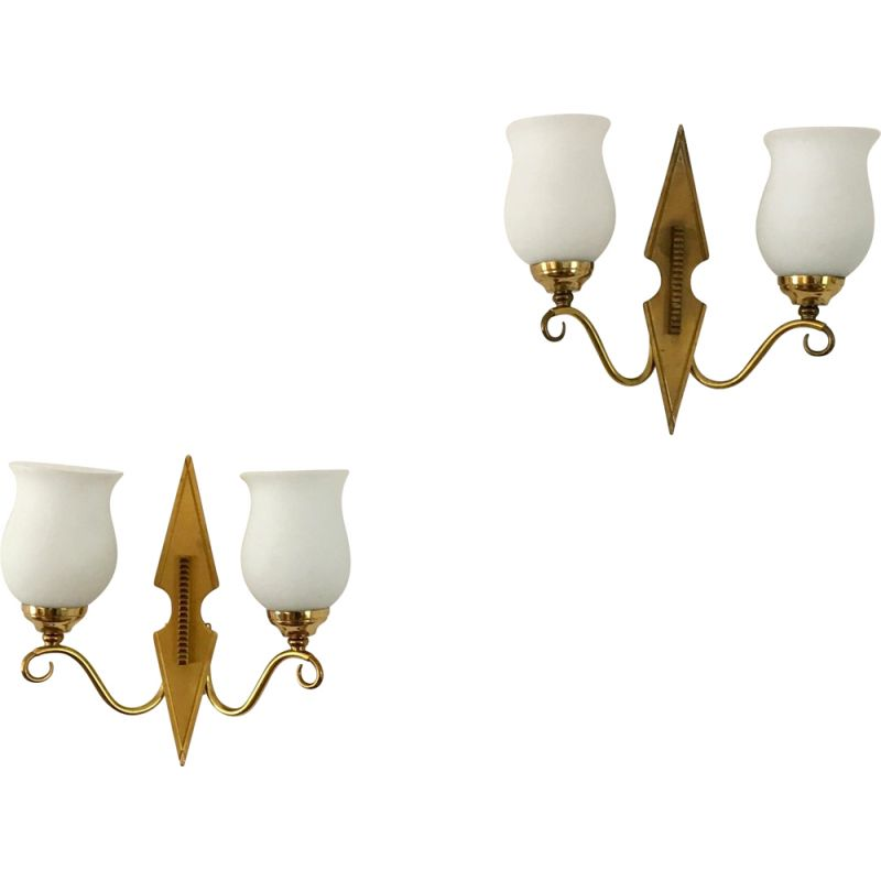 Pair of vintage brass and opaline wall lamps, 1950s