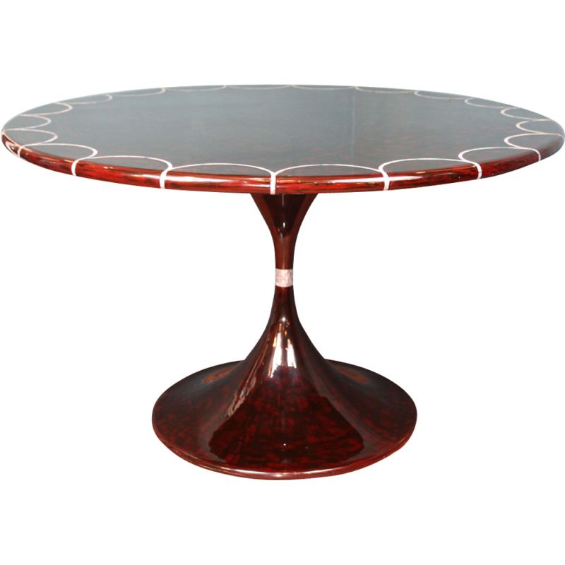 Vintage dining table in Lacquered Mahogany Wood for Mother of Pearl Inlays by Eero Saarinen