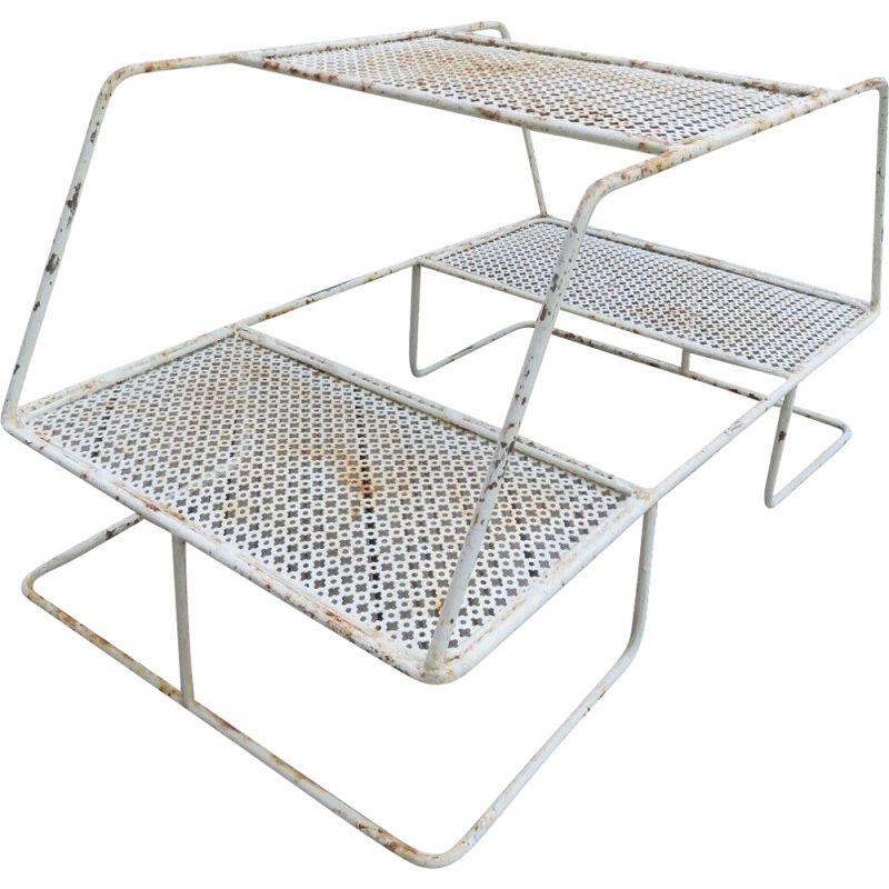 Vintage plant holder in perforated metal with clover, 1950