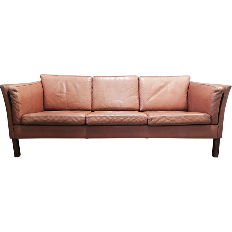 Vintage 3-seater leather and teak sofa