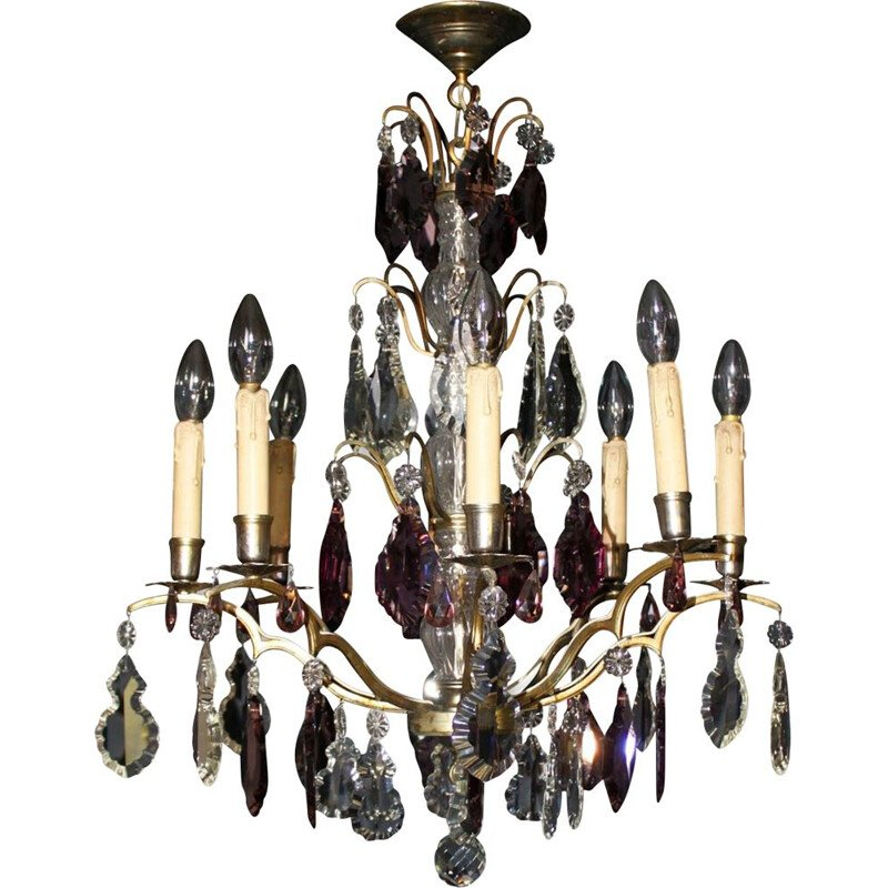 Vintage chandelier with pendants and wafers, France, 1930s