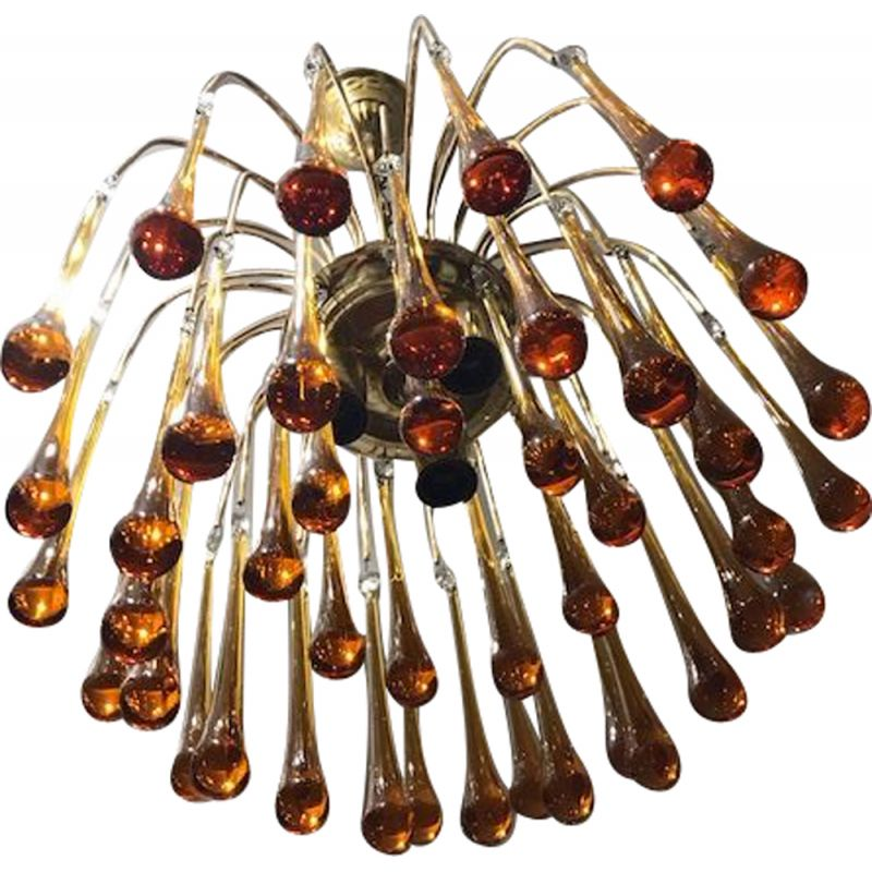 Vintage orange chandelier by Paolo Venini