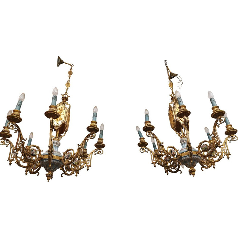 Set of 2 vintage classic chandelier in bronze and porcelain