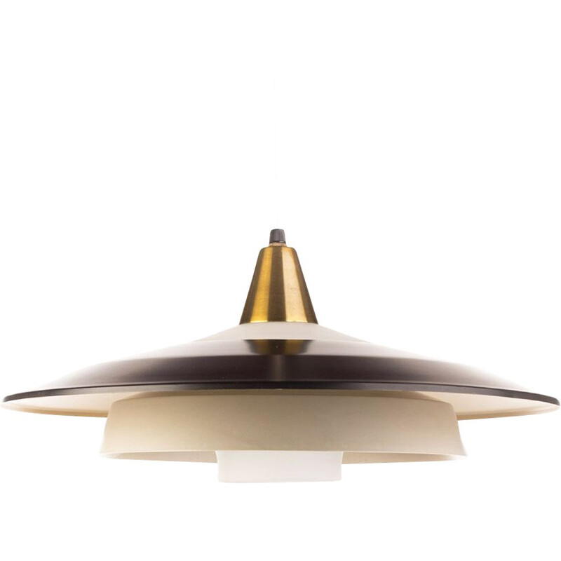 Vintage black and grey brass pendant light with opaline glass, Denmark, 1960s