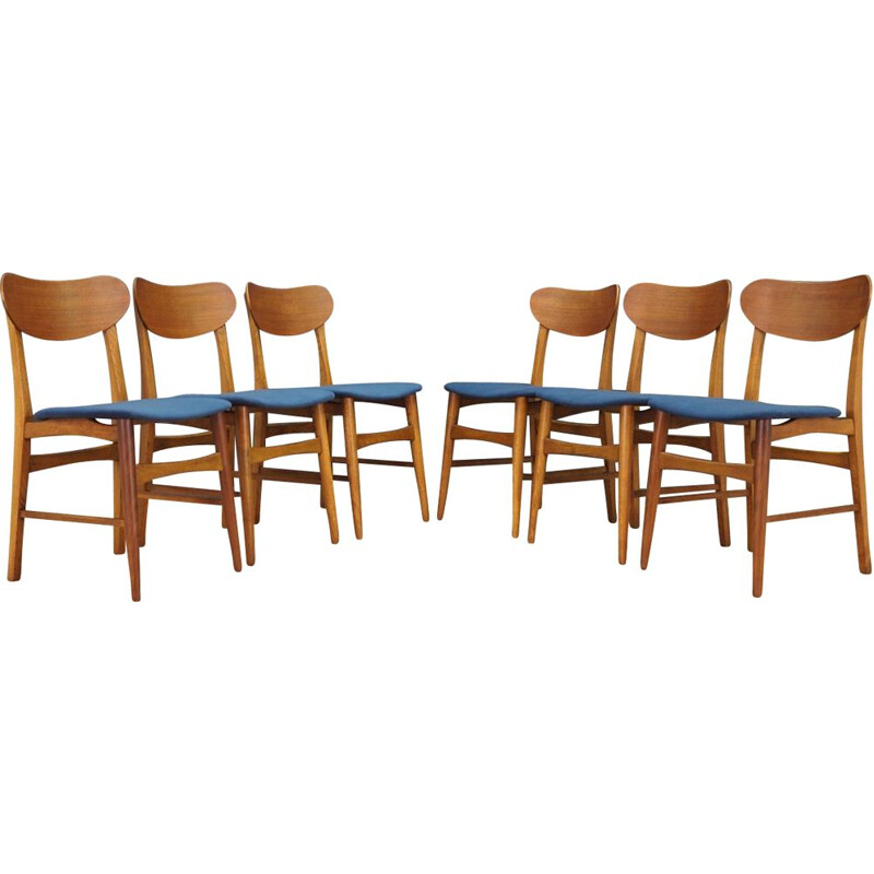 Set of 6 vintage chairs in teak and blue velvet, Denmark, 1960-70s
