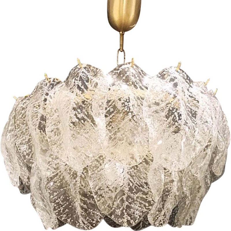 Vintage Ice Front murano chandelier by Mazzega, 1970s
