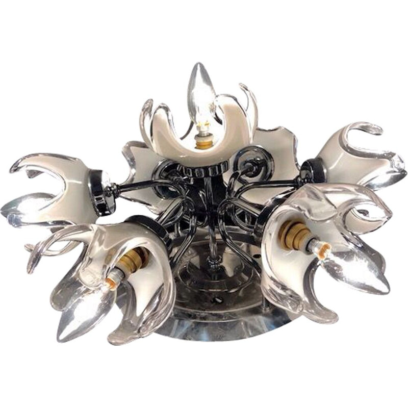 Vintage Murano glass ceiling LIGHT by Mazzega, Italy, 1960s