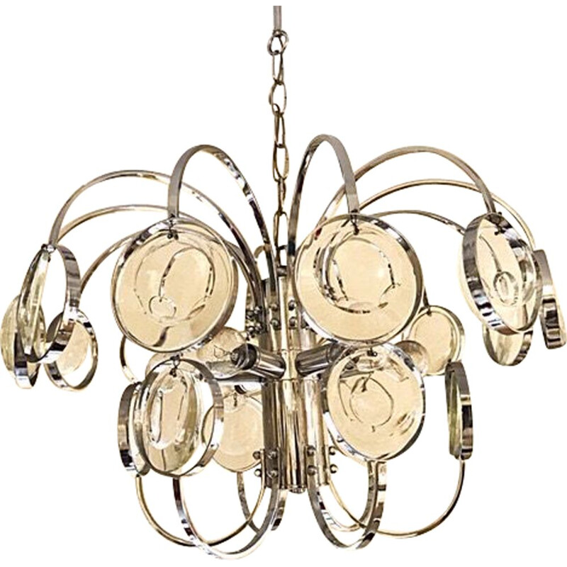 Vintage chrome model Loupe chandelier by Gaetano Scoliari, 1979