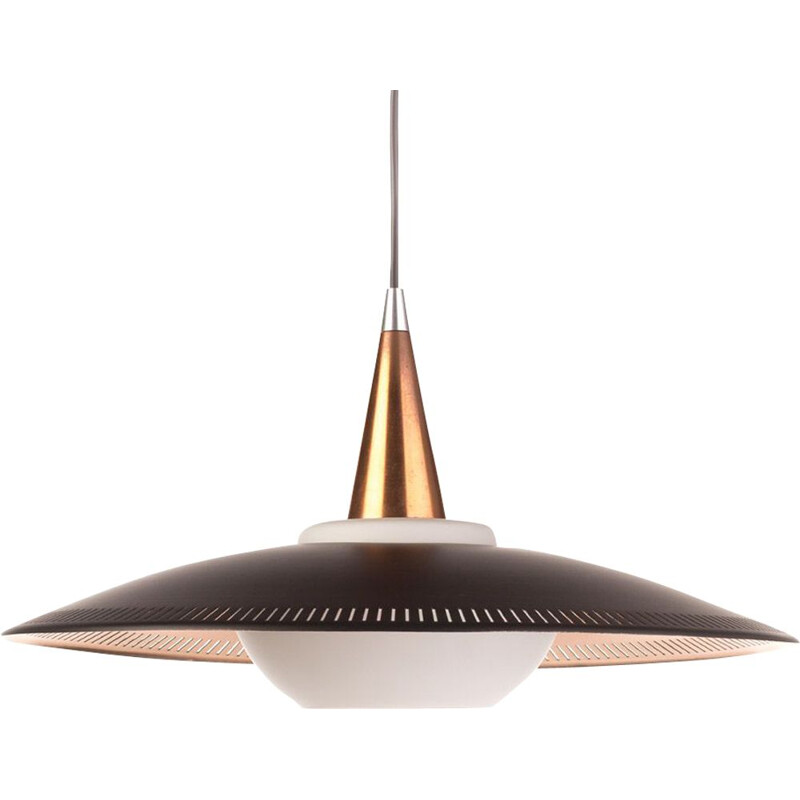 Vintage black copper and opaline glass Lyfa pendant light  by Bent Karlby, 1960s