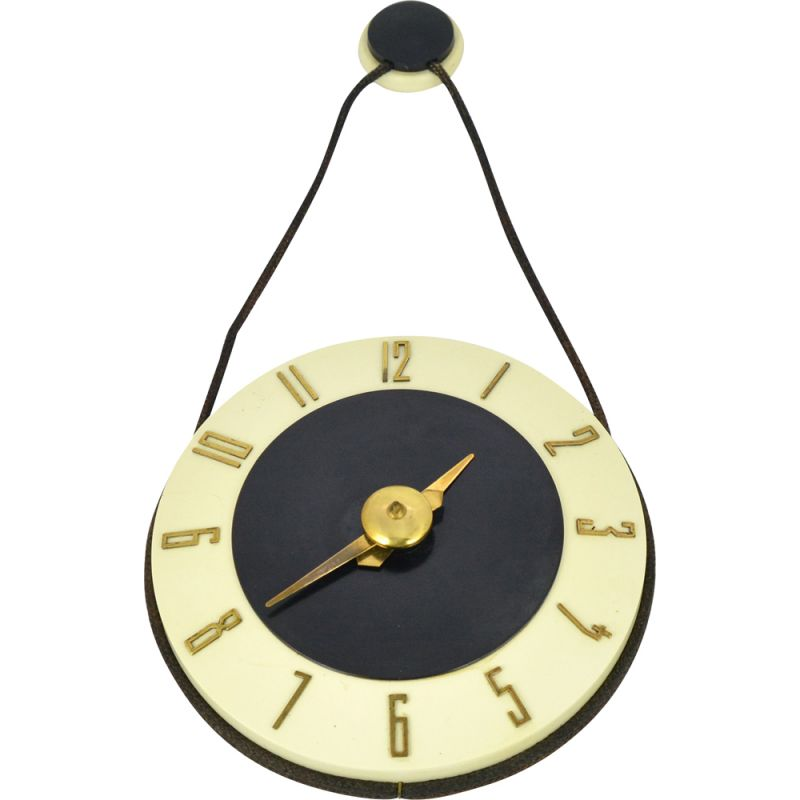 Vintage mechanical wall clock by Soviet Jantar Factory, 1950s