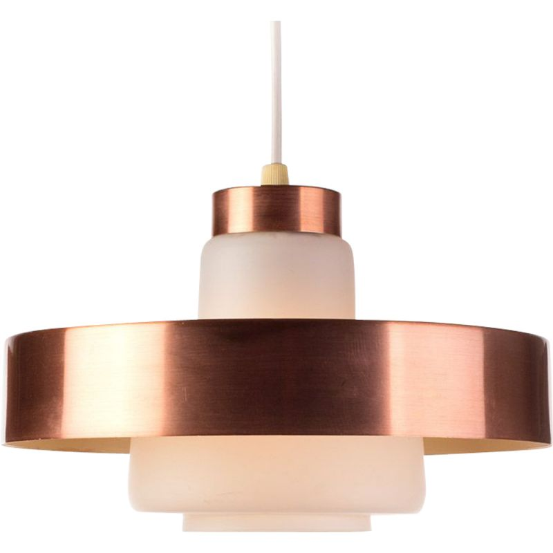 Vintage pendant lamp in copper and opaline glass, Denmark